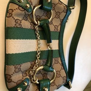 Gucci Monogram Horsebit Brown/green Clutch